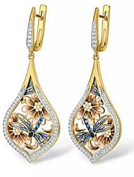 cheap -Women's Drop Earrings Geometrical Fashion Stylish Gold Plated Imitation Diamond Earrings Jewelry Gold For Anniversary 1 Pair
