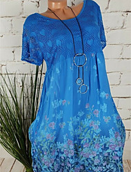 cheap -Women's Sheath Dress - Short Sleeves Geometric Elegant Army Green Khaki Royal Blue Light Green Navy Blue S M L XL XXL XXXL XXXXL XXXXXL