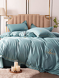 cheap -Duvet Cover Sets 4 Piece Linen / Polyester Blend Solid Colored Dark Yellow Yarn Dyed Dainty