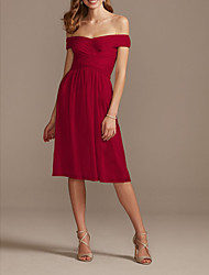 cheap -A-Line Off Shoulder Knee Length Chiffon Bridesmaid Dress with Pleats / Draping