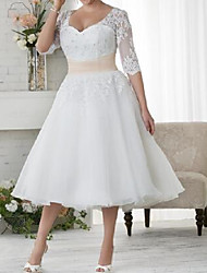 cheap -Ball Gown A-Line Wedding Dresses Scoop Neck Tea Length Lace Tulle Half Sleeve Country Plus Size with Lace Cascading Ruffles 2021