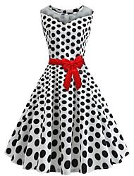 cheap -Women's A Line Dress - Sleeveless Polka Dot White S M L XL XXL