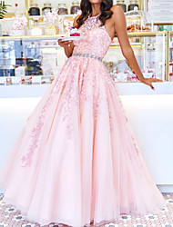 cheap -Ball Gown Floral Pink Engagement Prom Dress Halter Neck Sleeveless Floor Length Polyester with Crystals Beading Appliques 2020