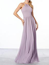 cheap -Sheath / Column Halter Neck Floor Length Chiffon Bridesmaid Dress with Pleats / Ruffles / Open Back