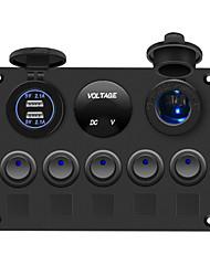 Недорогие -Автомобильное зарядное устройство DC12V 5-битный круглый маленький выключатель 4.2a Двойная кнопка USB вольтметр 12v с патроном лампы / IP65 / широкий диапазон использования / сине-зеленый красный