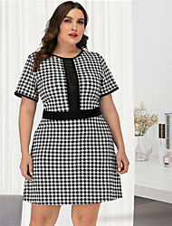 cheap -Women's Plus Size Black & White A Line Dress - Short Sleeves Check Mesh Patchwork Sexy Street chic Daily Going out Belt Not Included Black L XL XXL XXXL XXXXL