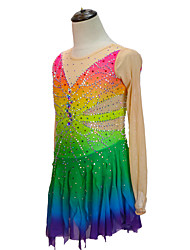 cheap -21Grams Figure Skating Dress Women's Girls' Ice Skating Dress Green Patchwork Asymmetric Hem Spandex High Elasticity Competition Skating Wear Crystal / Rhinestone Long Sleeve Ice Skating Figure