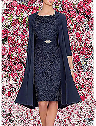 cheap -Women's Two Piece Dress Knee Length Dress - 3/4 Length Sleeve Floral Jacquard Spring & Summer Elegant Hot Going out Satin 2020 Wine Dark Blue Gray M L XL XXL 3XL / Chiffon