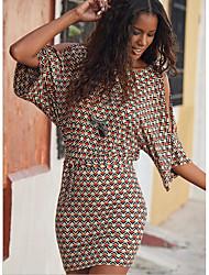 cheap -Women's Bodycon Dress - Half Sleeve Geometric Loose Blue Red S M L XL XXL
