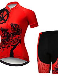 Недорогие -21Grams Жен. С короткими рукавами Велокофты и велошорты Черный / красный Шестерня Велоспорт Наборы одежды Дышащий 3D-панель Быстровысыхающий Ультрафиолетовая устойчивость Впитывает пот и влагу