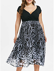 cheap -Women's Plus Size Black & White Chiffon Dress - Sleeveless Check Print Spring & Summer V Neck Basic Daily Loose Black XL XXL XXXL XXXXL XXXXXL