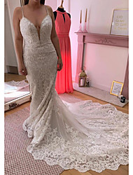 cheap -Mermaid / Trumpet Wedding Dresses V Neck Court Train Lace Sleeveless Country Plus Size with Lace Appliques 2020