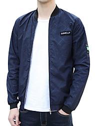 cheap -Men's Daily Spring &  Fall / Spring Regular Jacket, Striped Hooded Long Sleeve Polyester Oversized Blue / Black / Gray