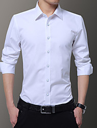 cheap -Men's Daily Work Business / Basic Shirt - Solid Colored Wine