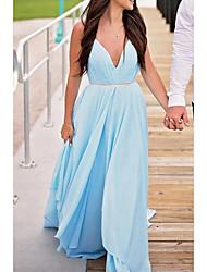 cheap -A-Line Minimalist Blue Engagement Prom Dress V Neck Sleeveless Court Train Chiffon with Pleats 2020