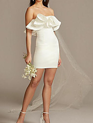 cheap -Sheath / Column Wedding Dresses Strapless Short / Mini Satin Sleeveless Country Plus Size with Ruched Ruffles 2020