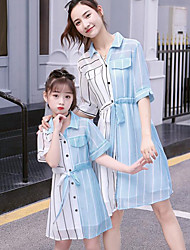 cheap -Mommy and Me Basic Sweet Striped Color Block Patchwork Half Sleeve Midi Dress Light Blue