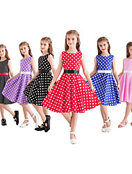 cheap -Audrey Hepburn Country Girl 1950s Vintage Vintage Inspired Hepburn Dress JSK / Jumper Skirt Girls' Kid's Cotton Costume Red / White / White+Blue / Black & White Vintage Cosplay Performance Family
