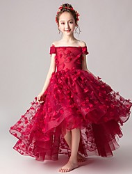 cheap -A-Line Asymmetrical Party / Pageant Flower Girl Dresses - Polyester Cap Sleeve Off Shoulder with Appliques