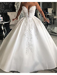 cheap -Ball Gown Wedding Dresses Sweetheart Neckline Sweep / Brush Train Chiffon Over Satin Sleeveless Country Plus Size with Beading 2020