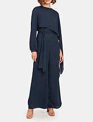 cheap -Pantsuit / Jumpsuit Jewel Neck Floor Length Chiffon Long Sleeve Elegant Mother of the Bride Dress with Sash / Ribbon 2020