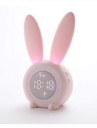 cheap -Bunny Ear LED Digital Alarm Clock Electronic LED Display Sound Control Cute Rabbit Night Lamp Desk Clock For Home Decoration