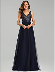 cheap -A-Line Sparkle Party Wear Prom Dress V Neck Sleeveless Floor Length Tulle with Sequin 2020