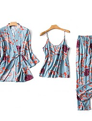cheap -Women's Print Suits Nightwear Floral Blushing Pink Red Blue M L XL