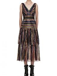 お買い得  -Aライン カラーブロック 光沢タイプ パーティーウェア プロムドレス ドレス Vネック ノースリーブ アンクル丈 スパンコール 〜と 多層 2020年