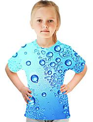 cheap -Kids Girls' T shirt Tee Short Sleeve Color Block 3D Print Blue Children Tops Active Streetwear Children's Day