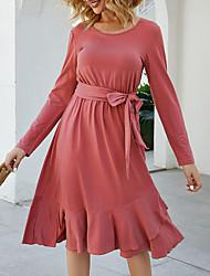 Недорогие -Жен. Кружева Платье - Длинный рукав Сплошной цвет Уличный стиль Лиловый Красный Зеленый S M L XL