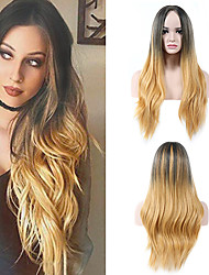 cheap -Synthetic Wig Cosplay Wig Wavy Halloween Christmas Middle Part Wig Blonde Ombre Long Black / Honey Blonde Synthetic Hair 26inch Women's Cosplay Soft Adjustable Blonde Ombre / Heat Resistant