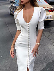 cheap -Women's White Dress Sheath Solid Color Deep V S M