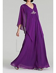 cheap -A-Line Mother of the Bride Dress Sweet V Neck Floor Length Chiffon Satin 3/4 Length Sleeve with Sequin 2020