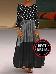 cheap -Women's 2020 Maxi Plus Size Yellow Red Dress Casual Spring Holiday Vacation Abaya Polka Dot Print Patchwork Print M L Loose