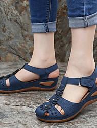 cheap -Women's Sandals Wedge Sandals Flat Sandal Summer Flat Heel Round Toe Daily PU Black / Purple / Yellow
