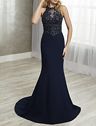 cheap -Mermaid / Trumpet Mother of the Bride Dress Elegant Halter Neck Sweep / Brush Train Chiffon Lace Sleeveless with Lace Appliques 2020