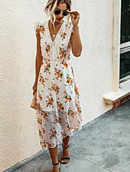 cheap -Women's Shirt Dress - Sleeveless Print V Neck Black Blushing Pink S M L XL XXL