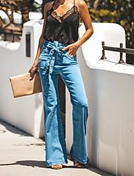 cheap -Women's Street chic Wide Leg Pants - Solid Colored Blue, Classic / Patchwork Blue S M L