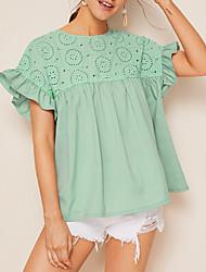 Недорогие -вышивка кружева рубашка с коротким рукавом о-образным вырезом блузки рубашки твердые случайные женские топы
