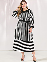 cheap -Women's Plus Size Maxi A Line Dress - Long Sleeve Striped Lace up Spring & Summer Fall & Winter Casual Elegant Daily Going out Loose Black L XL