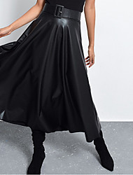 cheap -Women's Swing Skirts - Solid Colored Black XS S M