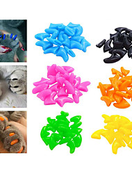 cheap -Cat Grooming Health Care Plastic Nail Cap Pet Grooming Supplies Red Pink Orange 20pcs