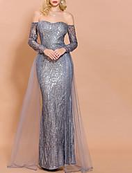 cheap -Mermaid / Trumpet Elegant Glittering Wedding Guest Formal Evening Dress Off Shoulder Long Sleeve Floor Length Polyester with Sequin Overskirt 2020