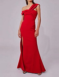 cheap -Sheath / Column Elegant Minimalist Party Wear Prom Dress One Shoulder Sleeveless Floor Length Spandex with Split 2020