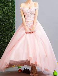 cheap -Ball Gown Floral Pink Engagement Prom Dress Off Shoulder Short Sleeve Floor Length Polyester with Sequin 2020