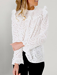 cheap -Women's Solid Colored Lace Ruffle Embroidery Loose Shirt - Lace Daily White / Hollow Out