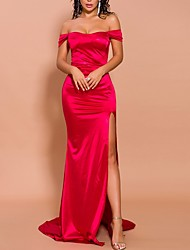 cheap -Mermaid / Trumpet Sexy Red Engagement Formal Evening Dress Off Shoulder Short Sleeve Court Train Polyester with Split 2020