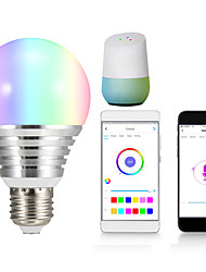 Недорогие -1шт 7 W Круглые LED лампы Умная LED лампа 700 lm E14 B22 E26 / E27 12 Светодиодные бусины Контроль APP Smart синхронизация Multi-цветы 85-265 V