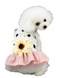 cheap -Dog Dress Flower Sweet Style Flower Style Dog Clothes Puppy Clothes Dog Outfits Black Pink Costume for Girl and Boy Dog Polyester XS S M L XL